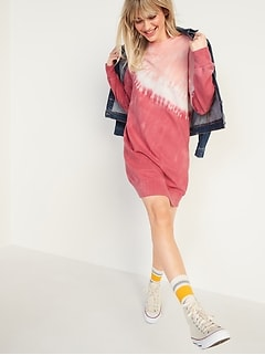Dip-Dyed French Terry Sweatshirt Shift Dress for Women