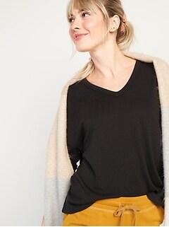 Haut de détente douillet surdimensionné en tricot pelucheux à encolure en V pour Femme