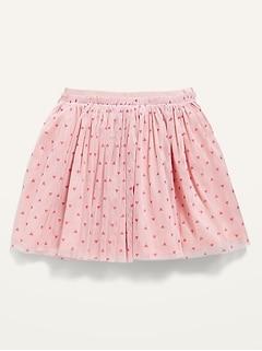 Valentine Heart-Print Tulle Tutu Skirt for Toddler Girls