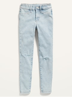 Ballerina Built-In Tough Distressed Light-Wash Jeggings for Girls