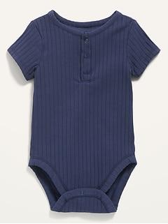Cache-couche henley unisexe en tricot côtelé uni pour Bébé
