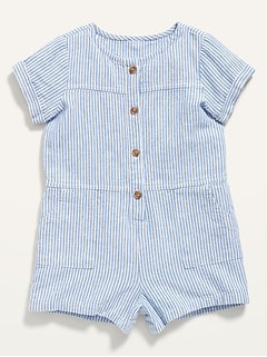 Striped Linen-Blend Button-Front Romper for Baby