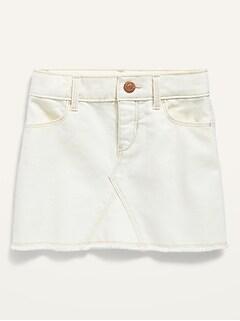 Frayed-Hem Pop-Color Jean Skirt for Toddler Girls
