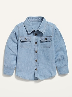 Button-Front Chambray Utility Shirt for Toddler Boys