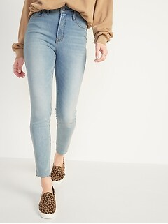 Extra High-Waisted Rockstar 360° Stretch Super Skinny Light-Wash Cut-Off Ankle Jeans for Women