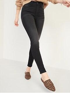Extra High-Waisted Rockstar 360° Stretch Super Skinny Black Jeans for Women