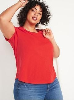 T-shirt tout-aller en tricot grège, taille forte