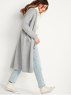 Long Duster Open-Front Cardigan Sweater for Women