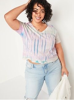 Loose Tie-Dyed V-Neck Plus-Size Crop Tee