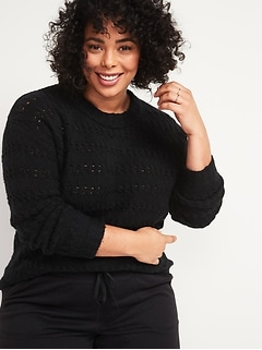Textured Cable-Knit Pointelle Plus-Size Sweater
