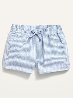 Seersucker-Stripe Pull-On Shorts for Baby