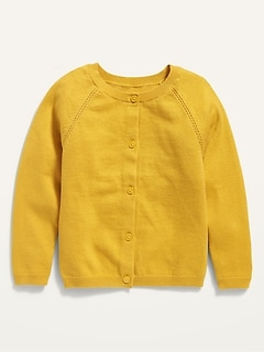 Solid Button-Front Crew-Neck Cardigan for Toddler Girls
