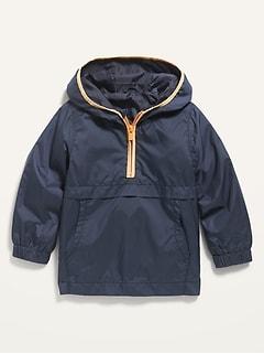 Hooded Half-Zip Windbreaker Jacket for Toddler Boys