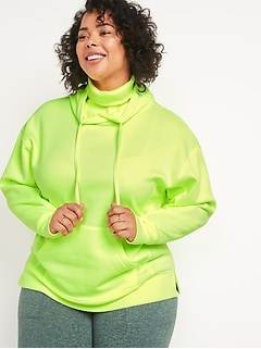 Oversized Rib-Knit Funnel Neck Plus-Size Pullover Hoodie