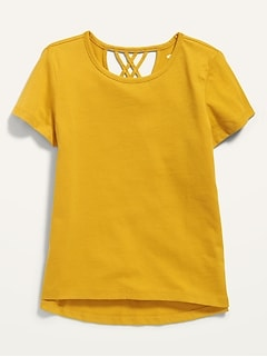Softest Lattice-Back Tee for Girls