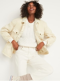 Oversized Sherpa-Lined Boyfriend Off-White Jean Jacket for Women