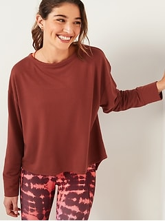 Lightweight French Terry Split-Back Sweatshirt for Women