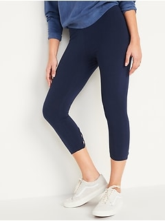 High-Waisted Cropped Lattice-Hem Leggings