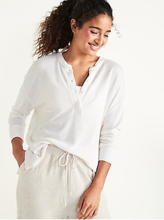 Oversized Double-Knit Crepe Henley Lounge Top for Women