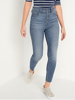 Extra High-Waisted Button-Fly Rockstar 360° Stretch Super Skinny Cut-Off Ankle Jeans for Women