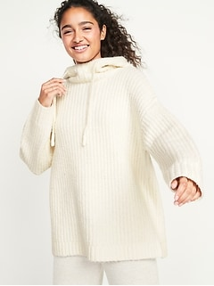 Cozy Textured Pullover Sweater Hoodie for Women