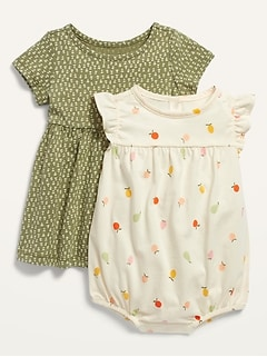 Short-Sleeve Jersey Dress and Romper Set for Baby