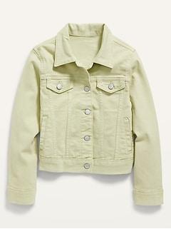 Pop-Color Jean Trucker Jacket for Girls