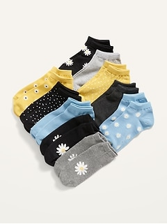 Printed 10-Pack No-Show Socks for Girls