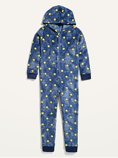 Matching Gender-Neutral Cozy Hooded Pajama One-Piece for Kids