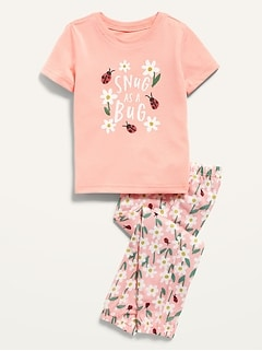 Unisex Loose-Fit Graphic Pajama Set for Toddler & Baby