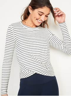 Relaxed Breathe ON Twist-Hem Cropped Top for Women