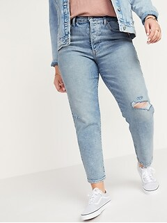 High-Waisted O.G. Straight Button-Fly Ripped Jeans for Women