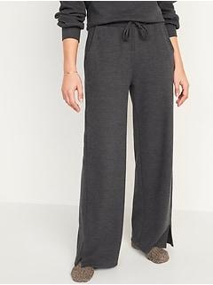 Pantalon de détente à jambe large et taille haute en tricot côtelé français pour Femme