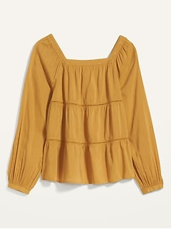Square-Neck Tiered Swing Top for Women