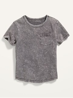 Mineral-Dyed Chest-Pocket Curved-Hem Tee for Boys