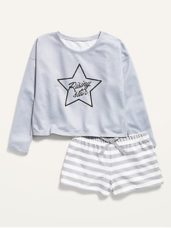 French Terry Pajama Top & Pajama Shorts Set for Girls