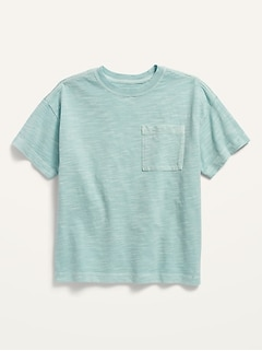 Loose Short-Sleeve Slub-Knit Pocket Tee for Boys
