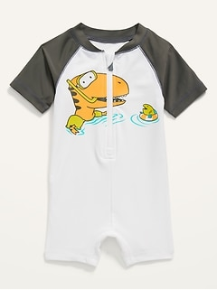 Zip-Front Rashguard One-Piece Swimsuit for Baby