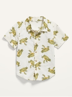 Frog-Print Short-Sleeve Button-Front Shirt for Toddler Boys