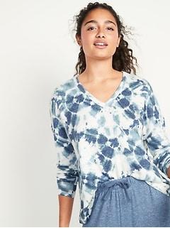Oversized Cozy Plush-Knit V-Neck Lounge Top for Women