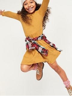 Robe à volants étagés en tricot duveteux douillet pour fille