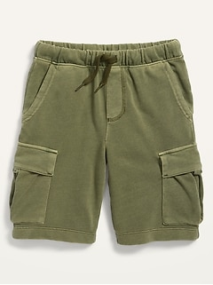 Specially Dyed French-Terry Cargo Jogger Shorts for Boys