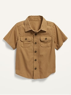 Short-Sleeve Button-Front Canvas Utility Shirt for Toddler Boys