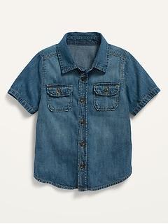 Short-Sleeve Jean Utility Shirt for Toddler Boys
