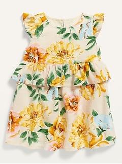 Robe étagée à fleurs avec bordure à volant pour Bébé
