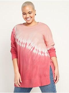 Chandail tunique surdimensionné teint spécialement pour femme