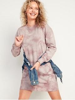 Tie-Dyed Sweatshirt Shift Dress for Women