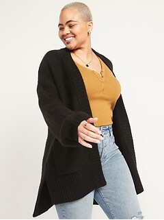 Textured Garter-Stitch Open-Front Cardigan Coat for Women