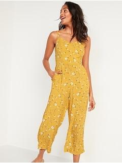 Floral-Print V-Neck Sleeveless Cami Jumpsuit for Women