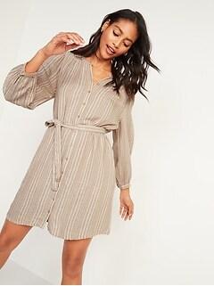 Robe-chemisier ceinturée à rayures texturées pour Femme